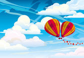 Couple red hot air balloons — Stock Vector