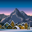 Stock Vector: Winter landscape with snow houses and mountains