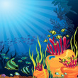 Colored coral reef and fish - Stock Vector