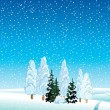 Winter landscape with forest - Stock Vector