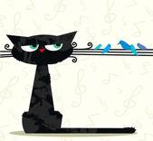 Lustige katze und vögel — Stockvektor