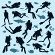 Set of diver silhouettes — Stock Vector #16050401