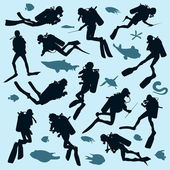 Set of diver silhouettes — Stock Vector