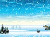 Vinterlandskap med snöfall — Stockvektor