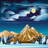 Winter night landscape — Stock Vector