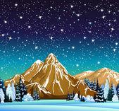 Zimní noční krajina s hvězdnou oblohu — Stock vektor