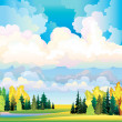 Autumn landscape with clouds, trees and meadow — Stock Vector