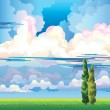 Summer landscape with clouds. two cypress and meadow — Stock Vector