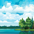 Green summer with trees, clouds and lake — Stock Vector