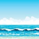 Sea with waves and sandy beach on a blue sky — Stock Vector #17374621