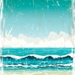 Grunge landscape with sea, waves and cloudy sky - Stock Vector