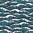 Seamless sea pattern with waves - Stock Vector