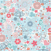 Valentines-day pattern with hearts and flowers — Vecteur