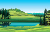 Summer landscape with lake and forest — Stock Vector