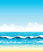 Sea with waves and sandy beach on a blue sky — Stock Vector