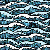 Seamless sea pattern with waves — Stock Vector