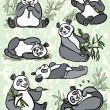Set of cartoon panda — Stock Photo