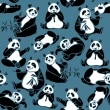 Set of cartoon funny panda — Stock Photo