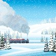 Train with smoke and winter landscape. - Stock Vector
