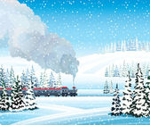 Train with smoke and winter landscape. — Stock Vector