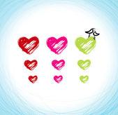 Hjärtan och fåglar — Stockvektor
