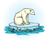 Oso polar y el mar contaminado — Vector de stock