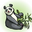 Cartoon panda and bamboo leaves — Stock Vector