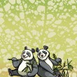 Two cartoon panda and bamboo leaves — Stock Vector