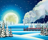 Full moon and train with smoke on a snowdrift background. — Stock Vector