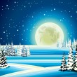Full moon and snowy forest at night. — Stock Vector