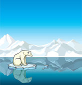 Polar bear and melting ice. Global warming. — Stock Vector