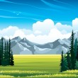 Summer landscape with fir, meadow and mountains. — Stock Vector