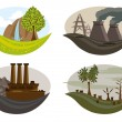 Global problem of pollution on the earth. — Stock Vector