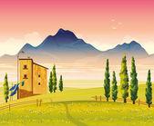 Paisaje con campo, casa y mounains — Vector de stock