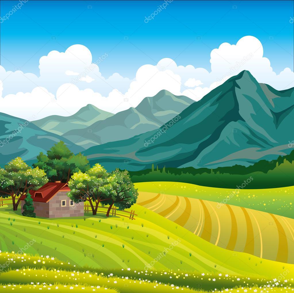 Paisaje con casa de madera y campo verde vector de stock - Paisajes de casas de campo ...