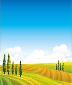 Landscape with green field and blue sky — Stock Vector