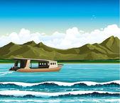 Barco en un mar — Vector de stock