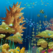 Seascape with coral reef — Image vectorielle