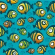 Fish wallpaper - seamless pattern — Stock Vector