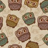 Cartoon pattern with owls. — Stock Vector