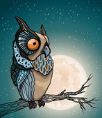 Cartoon owl and full moon. — ストックベクタ