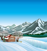 Winter landscape with hut. — Stock Vector