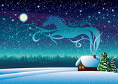 Winter landscape with hut and magic horse silhouette. — Stock Vector