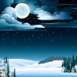 Winter landscape with lake and full moon. — Stock Vector