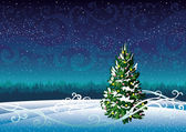 Winter landscape and snowy fir. — Stock Vector