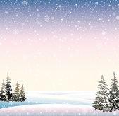 Zimowy śnieżny krajobraz — Wektor stockowy