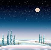 Winter starry landscape — Stockvektor