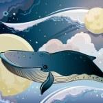 Cartoon whale and fantastic sky. — Stock Vector