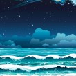 Night seascape. — Stock Vector