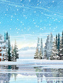 Winter landscape. — Stock Vector